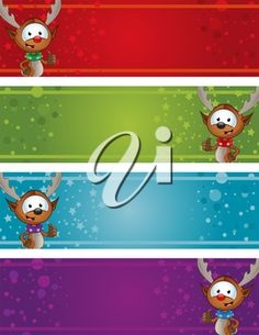 iCLIPART - Royalty Free Clipart Image of Christmas Reindeer Banners