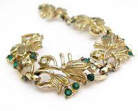 RHINESTONE BRACELET VINTAGE EMERALD GREEN Gold Tone CHRISTMAS Jewelry HOLIDAY