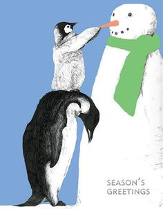 """Our adorable penguins and snowman holiday card is simply a wonderfully penguin fun way to say Happy Holidays. This 5 1/2"""" x 4"""" card is printed in the USA on recycled textured paper. The card is blank"""