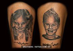 Children Tattoo Black and White (year 2016)  #child #children #heartbeat #heartbeats #girl #boy #porträit #blackandwhite #realistic #heartbeat #tattoos#instatattoo#tat#tatts#tattooist#inklife#tattooink #inkstagram#tattooing#tattooflash#tattooofinstagram#tattooer  #inkaddict#tattoolove#tattoooftheday#tattooworkers#austria Tattoo Studio, Heartbeat Tattoos, Piercing, Tattoo Black, Year 2016, Austria, Portrait, Children, Solid Black Tattoo