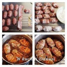 ZRAZY ZAWIJANE Z MIELONEGO MIĘSA Polish Recipes, New Recipes, Recipies, Cooking Recipes, Aga, Sausage, Food And Drink, Pork, Veggies