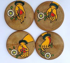 -Indian Home Decor Delight -Set of four hand painted wooden coasters. Beautiful edges round coasters made of wood which are perfect addition to the table decor.They are truly one of a kind,rustic yet refined with a beautiful polish over it. The wood i Pichwai Paintings, African Art Paintings, Kalamkari Painting, Madhubani Painting, Coaster Art, Coaster Design, Fabric Painting, Wooden Painting, Diy Painting