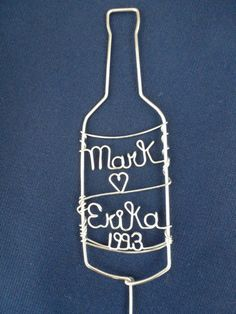 Wine Bottle Anniversary Cake Topper by heatherboyd on Etsy, $30.00