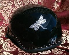 Bling your Motorcycle Helmet to match your ride. We use Genuine Swarovski Crystals for the best sparkle and shine. Create your own design for your helmet or let us do it for you. Sparkle up your day with Custom Bling by Ricci~  Net this sweet little Dragonfly on a DOT