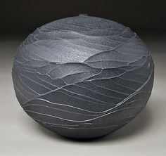 """Black Topography""   Ceramic Vessel   by Nicholas Bernard   $ 280"