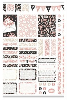 Cute love themed planner sticker kit for decorating and organizing your planner. Fits Erin Condren, Happy Planner, etc.  #affiliate #planner #plannerstickers #plannerdecorating #plannerorganization #plannerideas #ErinCondren #HappyPlanner