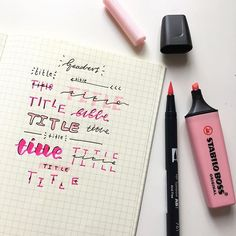 Hello, hello!!!  I hope you're all doing well, I thought I'd post a picture of my different header styles! This is something new and I thought I'd create it, I used a pink Stabilo Pastel highlighter and a Tombow Brush Pen! If this helps you out, do save as it lets me know! I might create different colours soon! . . . . . . . . . . . • • • • • #studyspo #study #studygram #studyblr #studyhard #studyinspo #studyinspiration #october2017 #obsession #stationerylov