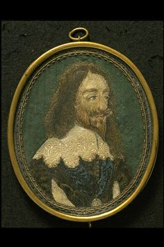 An enbroidered portrait of Charles I This was probably made in the early years after 1649 when the king was executed.