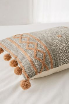 Urban Outfitters Geo Tufted Bolster Pillow - Grey One Size