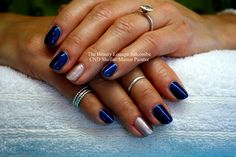 CND Shellac nails in Peacock Plume and Safety Pin. #shellac #salcombe #blue #nails