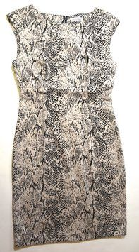 Calvin Klein Dress SIZE 4 GENTLY LOVED SNAKE SKIN BLACK WHITE COTTON MINT CONDITION