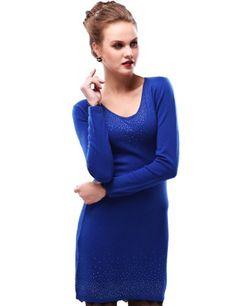 Maxchic Women's V-Neck Lace Trim Rhinestones Fine-knit Cashmere Sweater Dress Q42009S11M