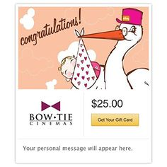 Bow Tie Cinemas New Baby Girl  Stork Gift Cards  Email Delivery -- Details can be found by clicking on the image.Note:It is affiliate link to Amazon.