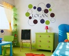 Love this 'Dots and Circles' wall decal for personalizing a boys bedroom or playroom! For more kids room decorating and organizing ideas visit https://www.facebook.com/KidsRoomDecor you may find something you 'LIKE'