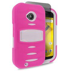 EGC Motorola Moto E 2nd Gen Case Total Defender - Hot Pink/White