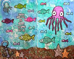 Octopode Factory Guest Design Team July. Under the sea. Art journal, Art journal page. Made by Serena Bee