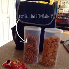 Upcycle empty Crystal Light containers and use them for storage solutions and all sorts of easy DIY projects and craft ideas! Mason Jars, Mason Jar Crafts, Crystal Light Containers, Valentines Diy, Easy Diy Projects, Food Storage, Rv Storage, Storage Hacks, Craft Storage