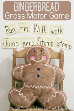 Based on the story The Gingerbread Man, this activity encourages kids to think about action words (verbs) and move; for preschool, pre-k, or kindergarten.