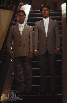 """Tom Cruise and Dustin Hoffman in """"Rain Man"""" (1988) these suits, that hair, the music during this sequence, so 80s, oh my"""