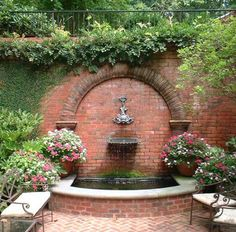 Having an exquisite backyard full of flowers and even some crops, shrubs and timber, there would nonetheless be one thing lacking. Backyard fountains are Backyard Garden Design, Backyard Landscaping, Rustic Backyard, Terrace Garden, Garden Trees, Garden Fountains, Patio Fountain, Garden Ponds, Koi Ponds
