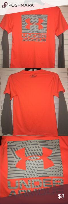 Long Sleeved Under Armour Shirt Youth Under Armour long sleeved Athletic shirt.  Heat Gear loose style.  UPF 30+ protect your skin from the sun's harmful rays and the Moisture Transport System wicks sweat away from the body. preventing odor causing microbes from forming.  Very soft, comfortable material.  Great condition! Under Armour Shirts & Tops Tees - Long Sleeve