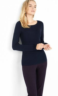 Mixed Texture Fitted Sweater | Express