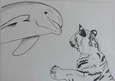 Quick fun sketch of a tiger meeting a dolphin