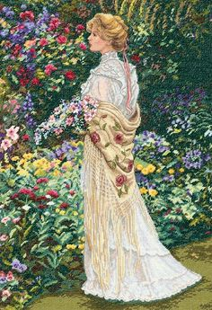 Dimensions Gold Collection Counted Cross Stitch Kit, Victorian Woman in Her Garden, 18 Count Ivory Aida, x Cross Stitch Art, Counted Cross Stitch Kits, Cross Stitching, Cross Stitch Patterns, Dimensions Cross Stitch, Free To Use Images, Gibson Girl, Victorian Women, Ribbon Embroidery