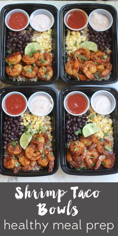 meal prep monday: shrimp taco bowls It's Monday! Our beach trip is less than two weeks away and I'm trying to undo all of those bad eating choices in the next 12 days. We all know that's never going to actually happen… But in the spirit Lunch Meal Prep, Meal Prep Bowls, Healthy Meal Prep, Healthy Drinks, Healthy Snacks, Healthy Eating, Weekly Meal Prep, Healthy Smoothies, Healthy Meal Planning