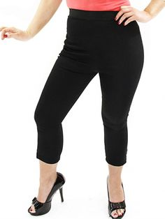 Women's High Waist Capri Pants by Dressed To Kill Clothing (Black)