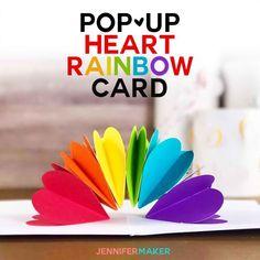 Make a Pop-Up Heart Rainbow Card – Jennifer Maker - Valentinstag Karten Birthday Card Pop Up, Homemade Birthday Cards, Kids Birthday Cards, Origami Birthday Card, Birthday Sayings, Sister Birthday, Birthday Images, Diy Birthday, Pop Up Flower Cards