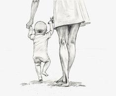 Gjennomsiktig mor som holder et barn som holder håndtegnet PNG-skisse. Art Drawings Sketches Simple, Pencil Art Drawings, Cute Drawings, Mother Daughter Art, Mother Art, Father Daughter Photos, Baby Drawing, Painting & Drawing, Life Drawing