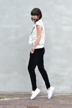 Velvet trousers (nelly.com) and white leather vest H