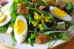 Spring Cobb Salad with Honey Dressing and Kale Flowers