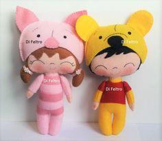 Personagem Leitao e Pooh da Apostila 1 - Baby Fantasy - Di Feltro