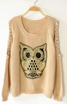 cute owl sweater with embellished cut off shoulders