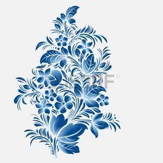 blu fiore ornamento, gzhel stile russo Archivio Fotografico
