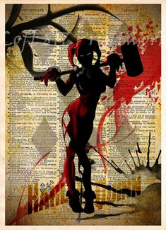 """The girl who puts the pain in Puddin' hits the books with the Harley Quinn Vintage Pop Art Print.  Printed on a vintage dictionary page with an image that measures approximately 8"""" x 11"""", Harley Quinn, in splatter-ink style, is dressed in her iconic harlequin suit with her over-"""