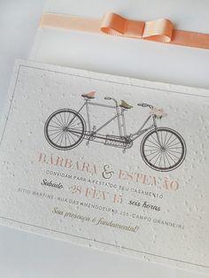 Convite de casamento ecológico.Bicicleta vintage.