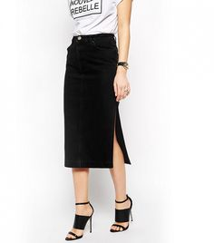 ASOS Denim Midi Skirt with Side Split // Slit-skirt in washed black denim