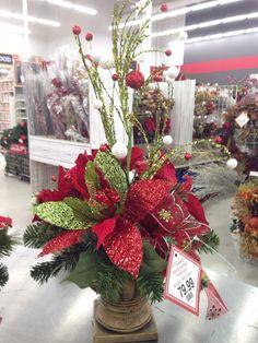 Mantelpiece Christmas floral arrangement. 2015 Laura A. Tulsa Michaels (3864)