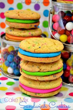 You can totally use cake mixes for so many things when you're in a pinch. A little creativity goes a LONG way! For instance, this yummy Sandwich Cookies recipe is made with a boxed cake mix!!! Easy Peasy and too much fun!
