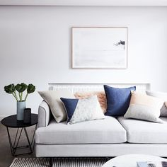 """The beautifully ethereal """"In the Mist"""" print by @printbygeorge. Styled by @stylingproperties and featuring the new Freya cushions @marmosetfound vases and @globewest Sofa.  Shop the look in our online store now. Link in bio  cred @alex_reinders and styling @stylingproperties  #nathanjac  #Freya #onlineshop #onlinehomewares by nathan_jac"""