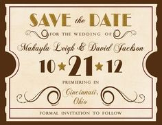 Antique Theatre Ticket Custom  Save the Date by InvitingMoments, $1.26