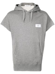 Grey cotton short-sleeved hooded top from Givenchy featuring logo patch to the front, drawstring hood, drop shoulder, short sleeves and kangaroo pocket. Mens Drawstring Shorts, Cotton Shorts, Short Sleeve Hoodie, Short Sleeves, Givenchy Man, Grey Hoodie, Size Clothing, Hoods, Shop Now