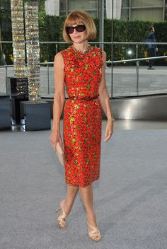 Anna Wintour wearing a dress by Marc Jacobs.
