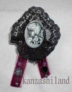 kanzashiland: broche gotico victoriano Gothic Victorian brooch