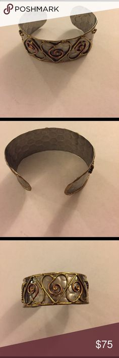 Hammered Sterling Silver Cuff with Copper Design Like new. Great quality. Jewelry Bracelets