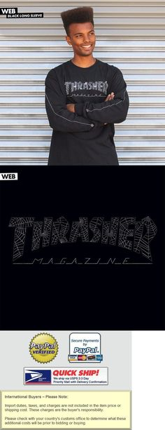 a16782a5589ea9 Clothing 23825  Thrasher Magazine Web Logo Long Sleeve Skateboard Shirt  Black Large -  BUY IT NOW ONLY   22.95 on  eBay  clothing  thrasher   magazine ...