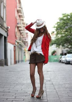 red jacket, ruffled shorts, aviators, hat & great gladiator heels